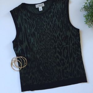 St. John Sport leopard wool sweater vest small